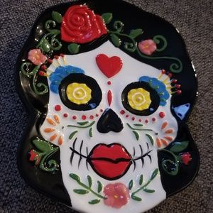 Surgar skull day of the dead plate New